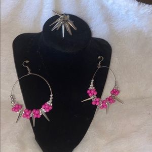 Costume jewelry earrings and ring.